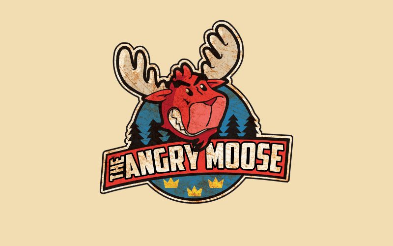 Emblem Design Angry Moose Foodtruck Illustration bunt