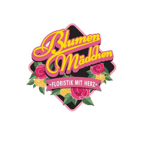 655259 BlumenMädchen Floristik mit Herz Emblem Logo Designs
