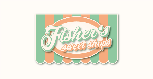 853861 Fishers Sweet Shops Logo Design Retro Farben