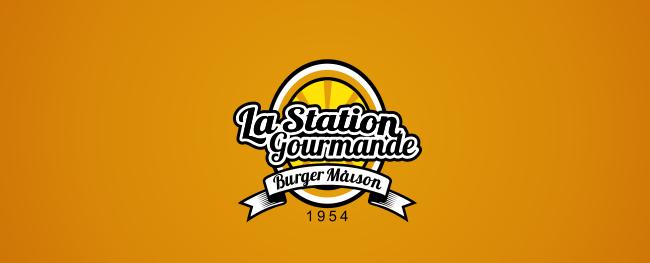 Logo 836575 La Station Gourmande Burger Maison Emblem Vintage