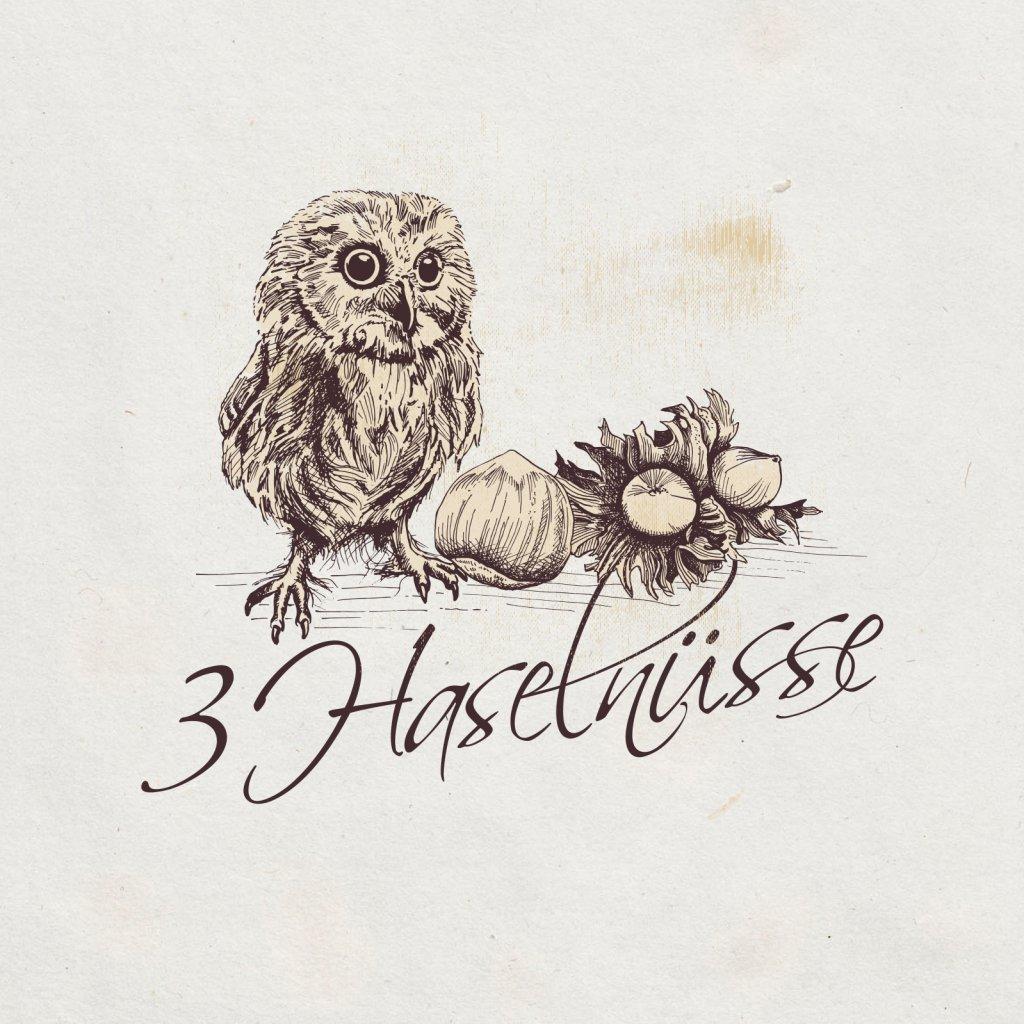 Logo Design 422964 3 Haselnüsse Brautmoden auf Maß Vintage Farben
