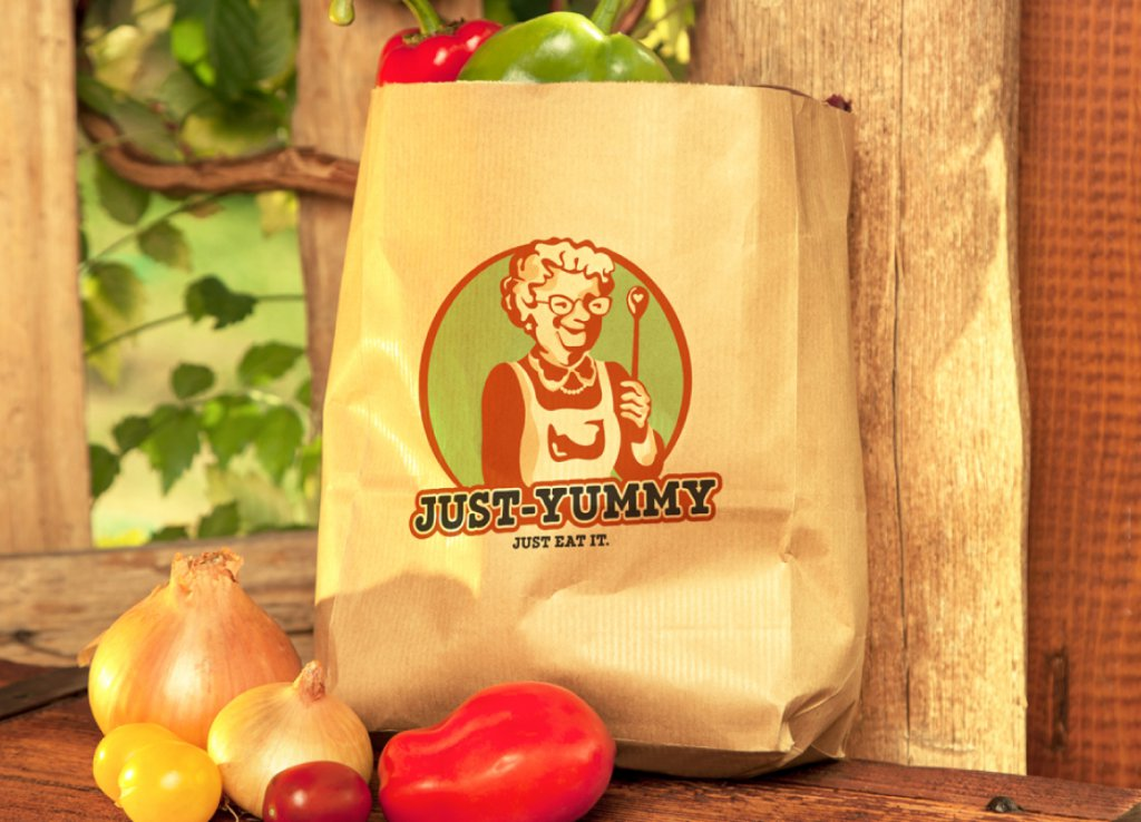 Logo Design 911955 Just Yummy Just Eat It Retro