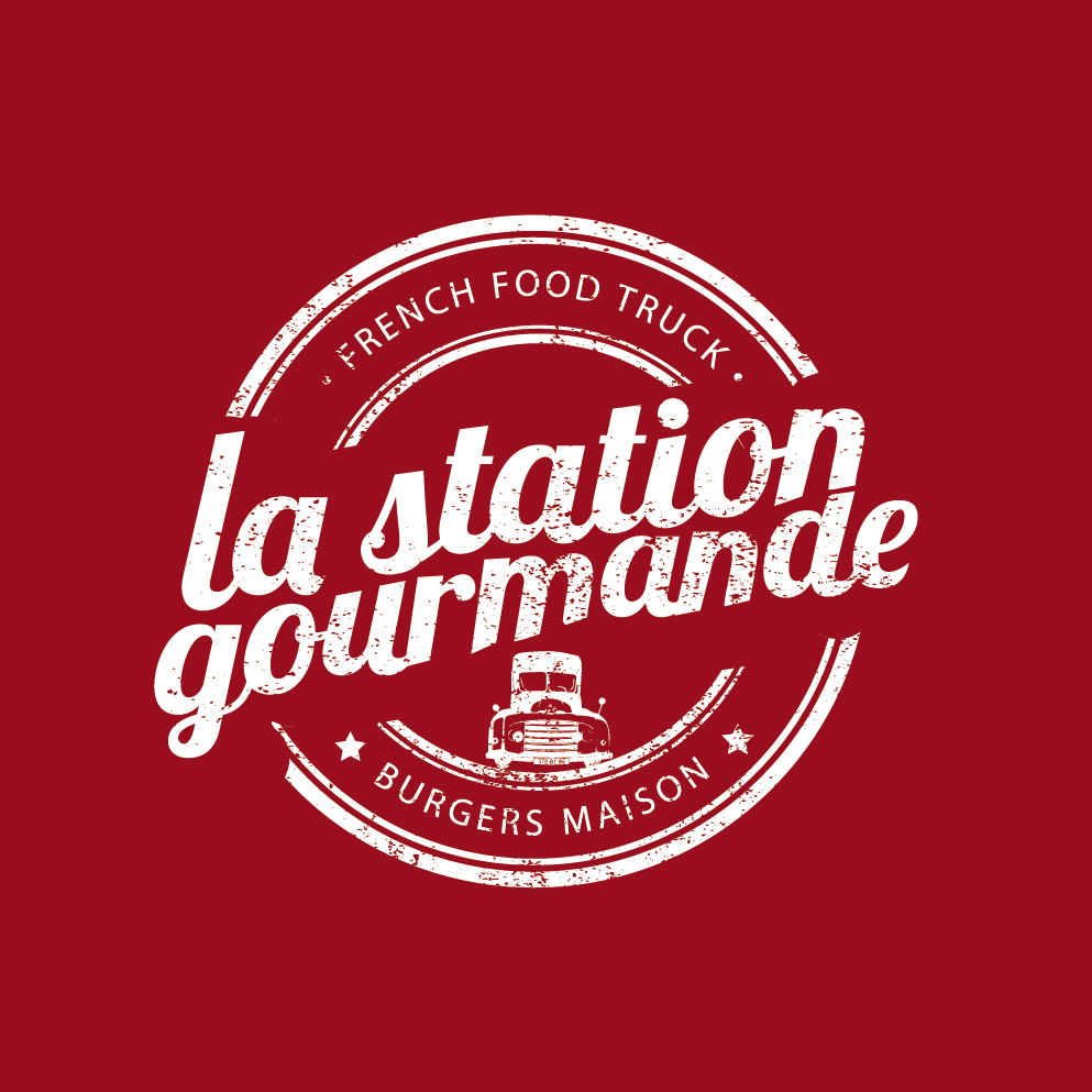 Vintage 836575 La Station Gourmande Burger Maison Rundes Logo