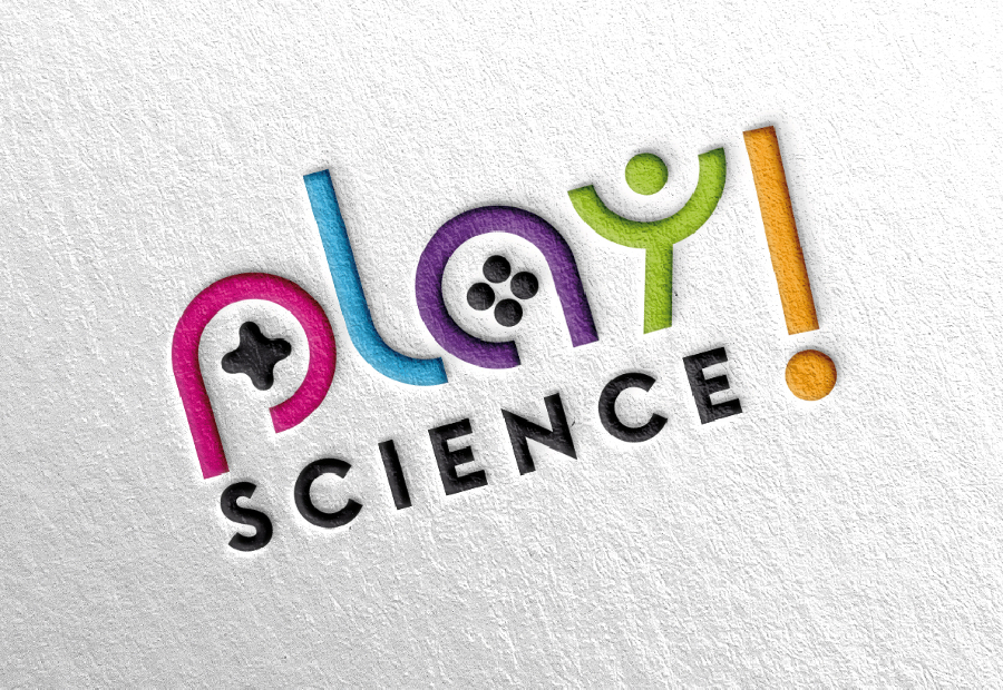 game logo wortmarkre play science