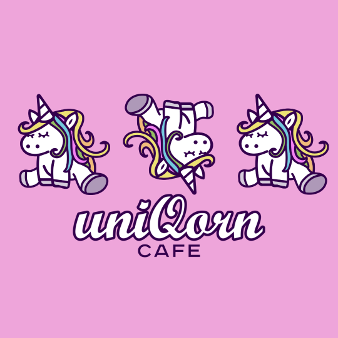 Bäckerei Uniqorn Cafe Illustriert Logo 433141