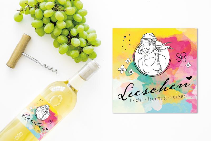 Buntes Weinetikett Design 231257 Lieschen