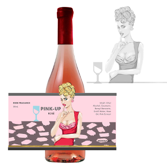 Pink Up Rose Gezeichnetes Weinetikett 916896