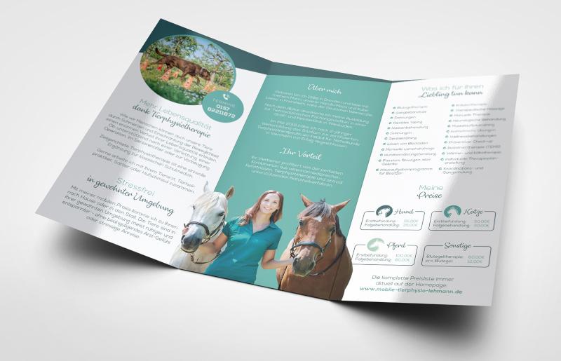Wickelfalz Flyer Design 224792 Tierphysiotherapie