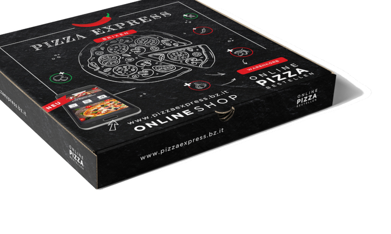Auffällige Produktverpackung Pizza Express