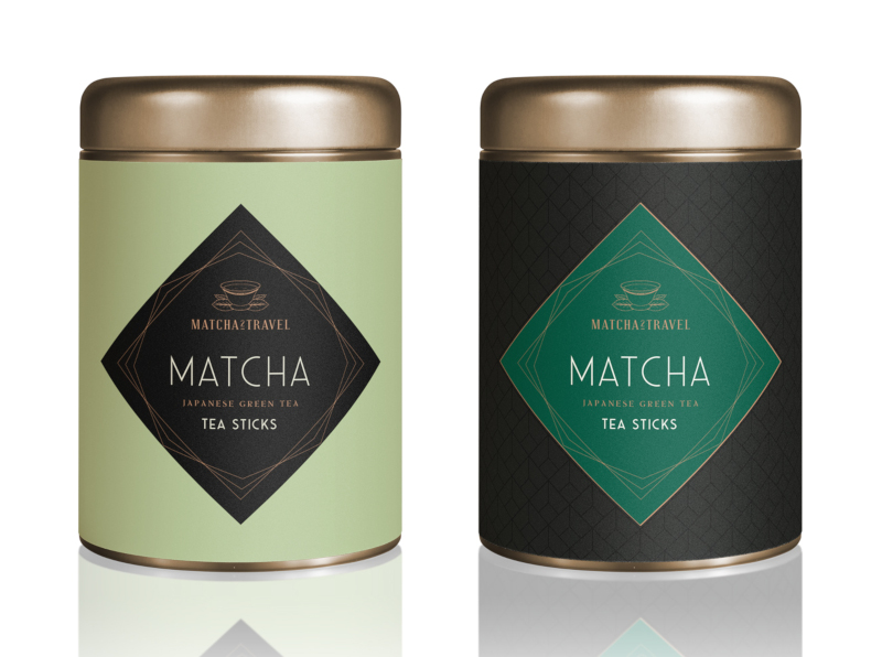 Auffälliges Design Produktverpackung Matcha Tea Sticks