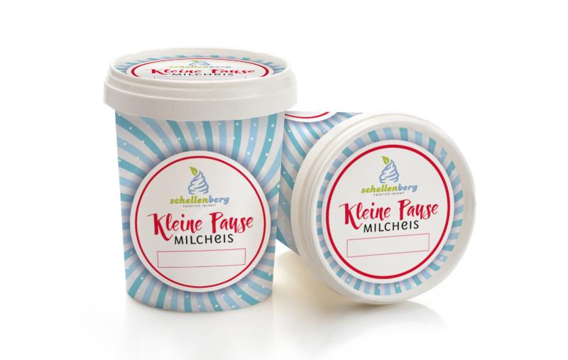 Kleine Pause Milcheis Produktverpackung Eisbecher