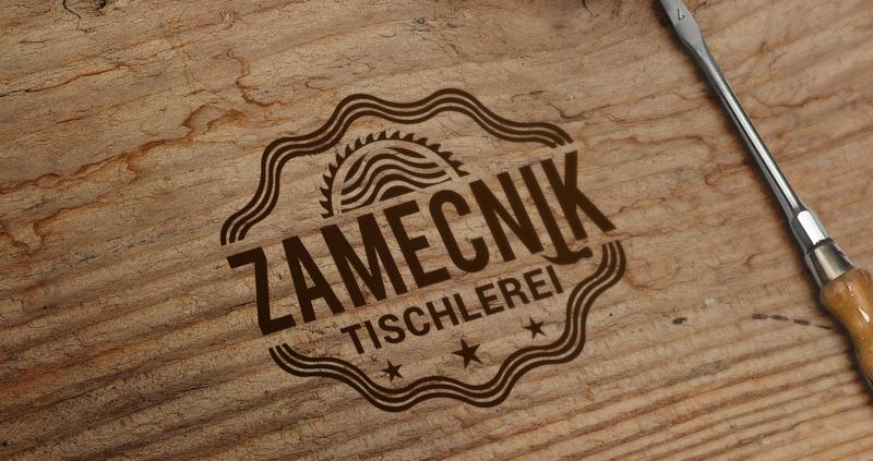 Tischler Logo Zamecnik Holzoptik Tischlerei