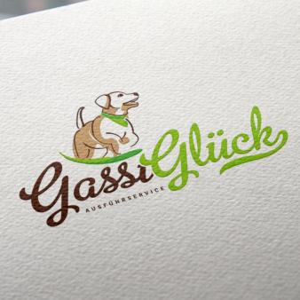 Gassi-Glück-Ausführservice-Hunde-Logo-Design