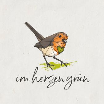 Im Herzen grün Polygonal Logo-Design kreativ