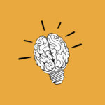 Design-Psychologie Grafik Gehirn und Glühbirne