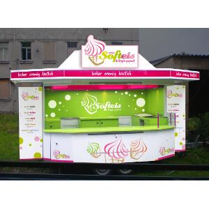 Gestaltung eines Verkaufsstandes für Softeis und Frozen Joghurt