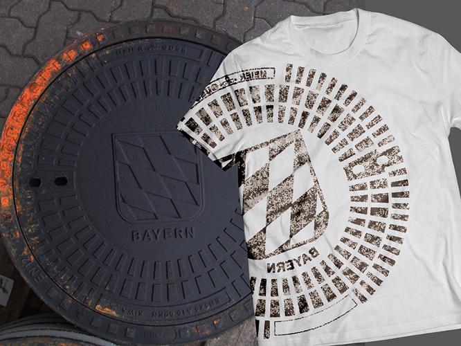 T-Shirt-Design mit Gullideckel-Druck