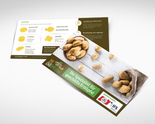 Kartoffel Schälbetrieb 'die Erdäpflerei' sucht Werbeflyer