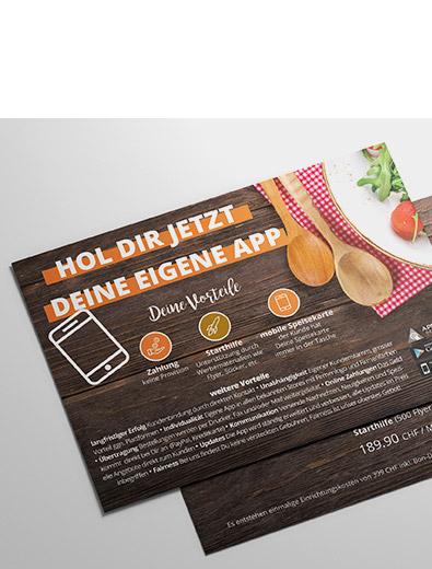 Flyer-Design für Gastro-App - Flyer-Design Beispiel