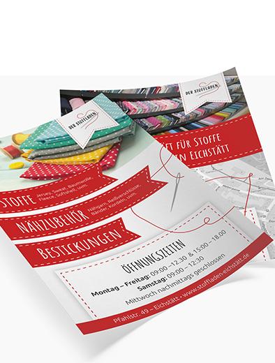 Flyer-Design für Nähgeschäft - Flyer-Design Beispiel