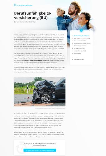 Info Landing-Page zum Thema Berufsunfähigkeitsversicherung