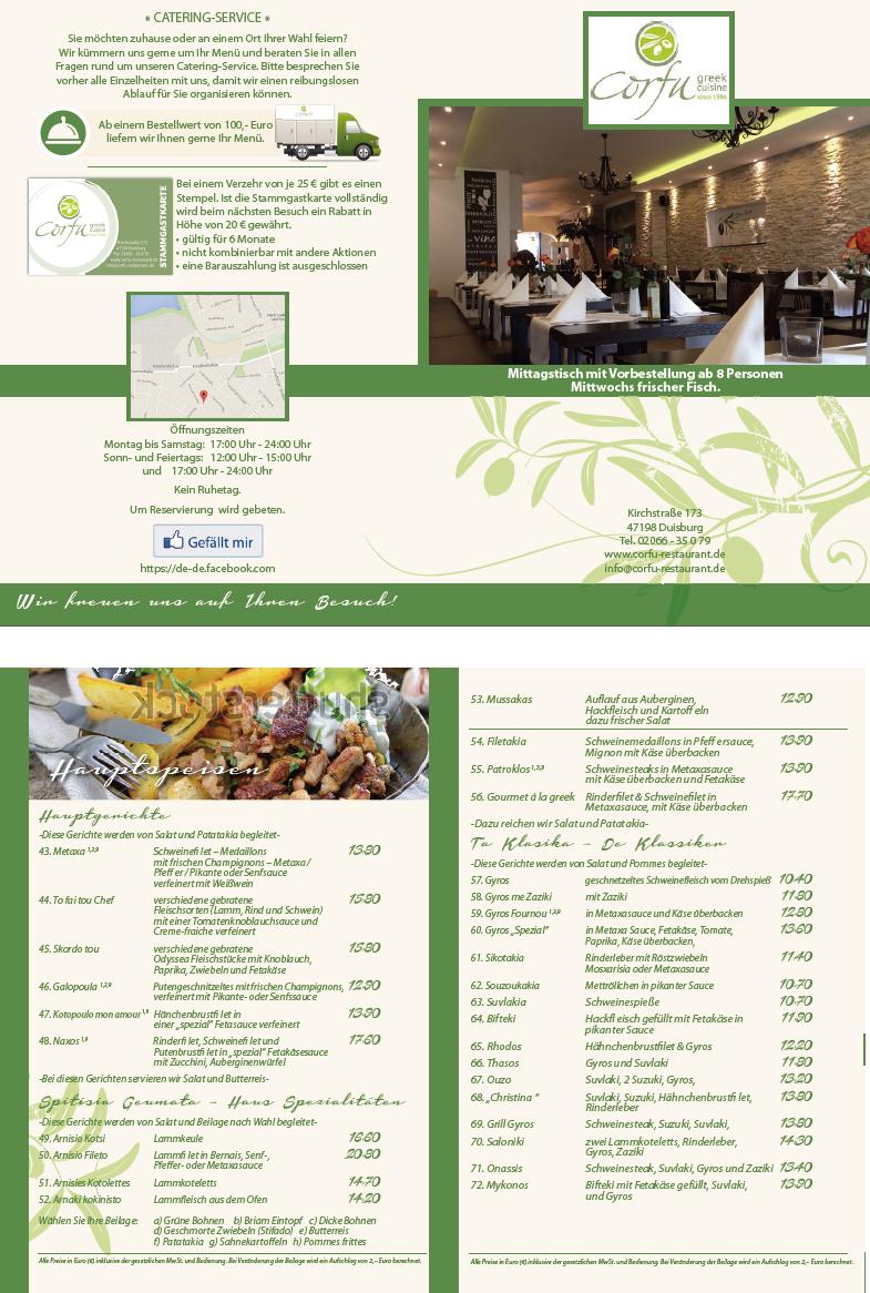 Speisekarten-Design für ein Griechisches Restaurant
