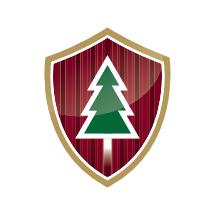 Logo im Wappen-Design für einen Weihnachtsbaum-Onlineshop