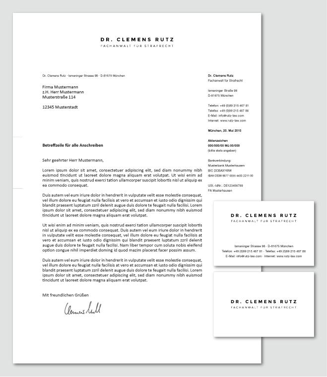 Visitenkarte Und Briefpapier Für Rechtsanwaltska