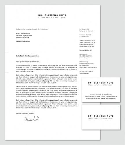 Visitenkarte und Briefpapier für Rechtsanwaltskanzlei